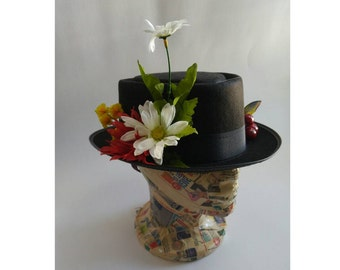 Upcycled Steampunk Clothing - Mary Poppins Costume, Custom Made Black Hat with White Daisies, Spoon Full of Sugar