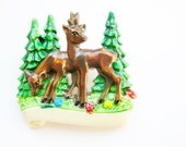 Lovely German Vintage Bavarian Deer Hat pin or Brooch; Alpenstyle Kitsch for Oktoberfest made from Celluloid