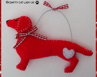 Dachshund/Sausage Dog Hanging ornament/decoration. Red Felt Dog ornament. Valentines day