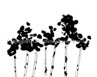 Digital Download: Aspen Tree, Black and White Art Print, Minimalist Art, Printable Aspen, Colorado Aspen