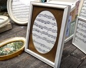 6 x 8 Frame, White Frame, Pressed Tin, Oval Matt, Wedding Decor, Picture Matt, Vintage Sheet Music, Shabby, Rustic, Cottage, Burns CBB