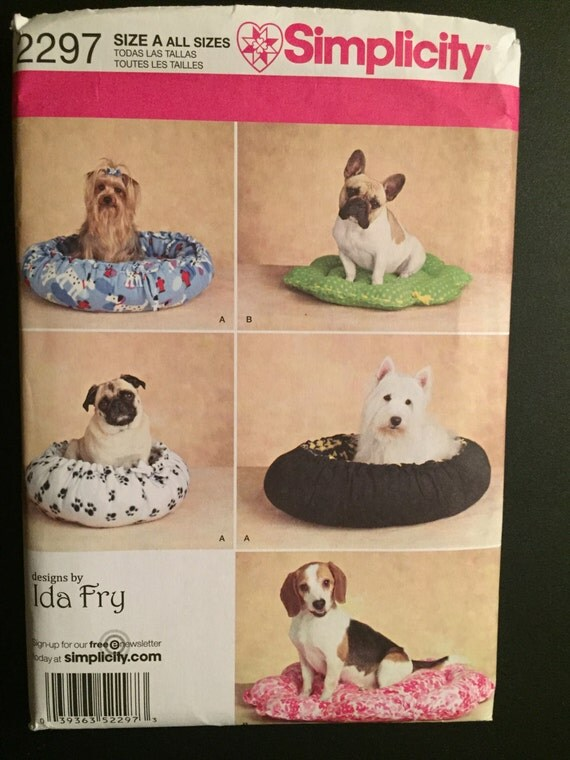 Simplicity Sewing Pattern 2297 Dog Beds in Two Styles Size XS-M