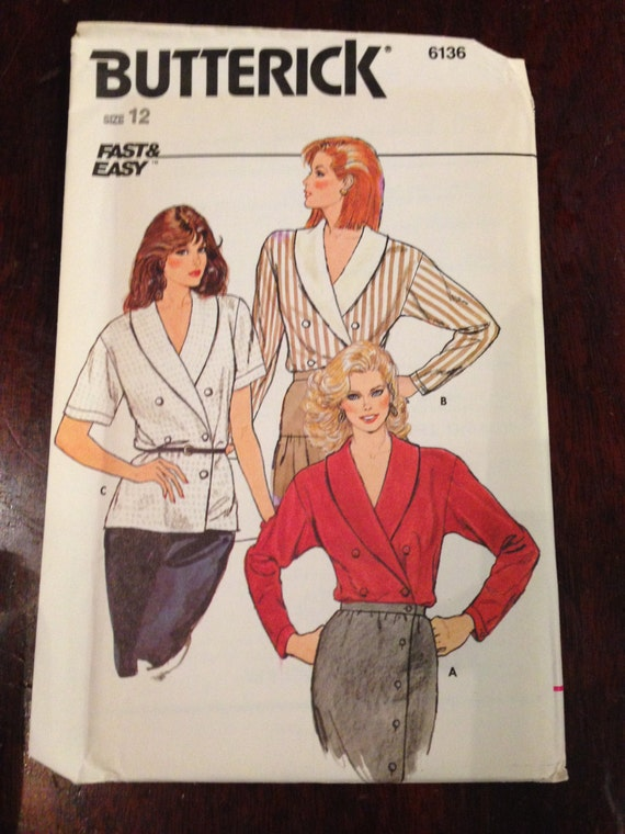 Misses Blouses Butterick 80s Fast and Easy Sewing Pattern 6136 UNCUT Size 8, 10, OR 12