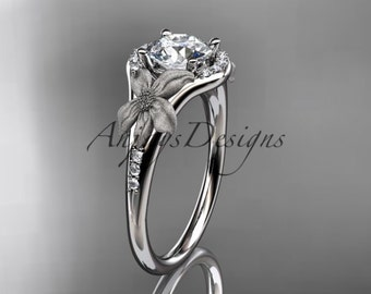 """14kt white gold diamond leaf and vine wedding ring, engagement ring with a """"Forever One"""" Moissanite center stone ADLR91"""