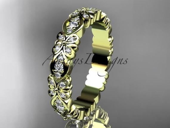 14kt  yellow gold floral diamond  wedding ring,engagement ring,wedding band  ADLR122
