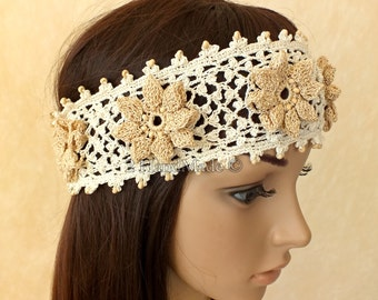 Handmade Crochet Irish Lace  Headband Dreadlock Head Wrap Boho of White Beige Wood Beaded Women Ivory Wedding Bridal Cotton Hair Snood