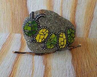 Caterpillar Mosaic Rock Paperweight / Decorative Rock / Home Decor