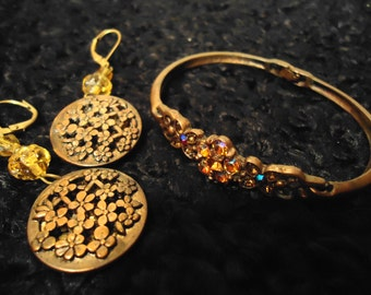 Vintage Ornate Gold Flower Drop Earrings and Gold Bracelt