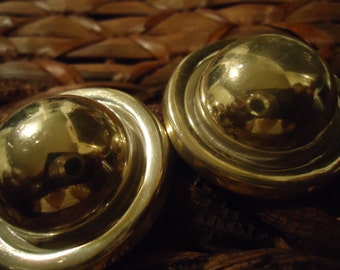 Vintage Sterling Silver Smooth Dome large Round Shaped Earrings (clips), Circa 1990's, Vintage, Mexican Silver 925
