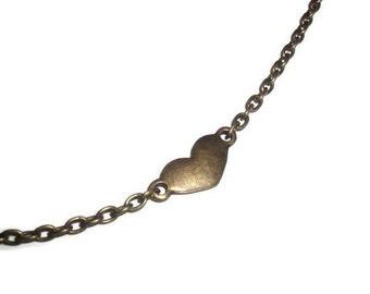 Dainty Heart Bracelet, Brass Bronze Minimalist Charm Bracelet