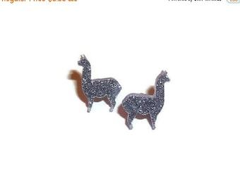 Lilac Glitter Llama Earrings, Cute  Purple Stud Earrings, Animal Jewelry, Kawaii Quirky Alpaca, Laser Cut
