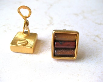 Amber Earrings Monet Clip On Square Multi Bead Faux Brushed Gold Signed Unusual Fashion Designer Jewelry Stylish