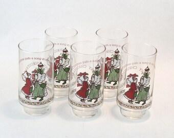 1977 NOS Vintage Coca Cola Coke Holly Hobbie Glass Set 4 Christmas Holiday