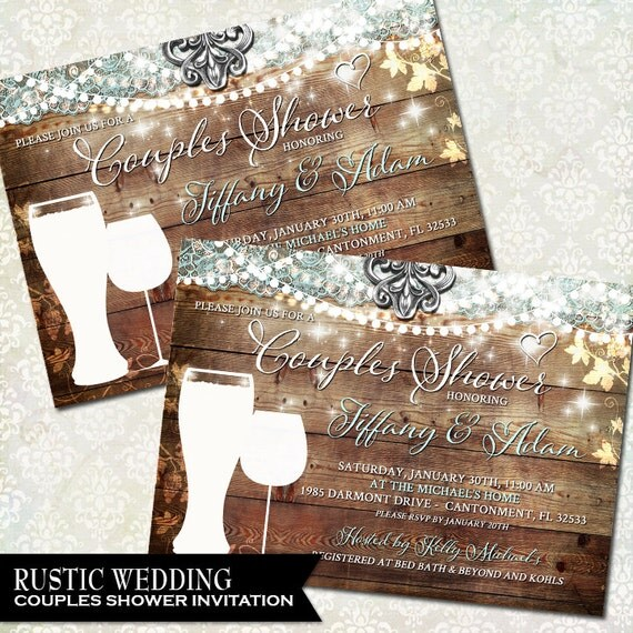 Rustic Couples Shower Invitation Vineyard Wedding By