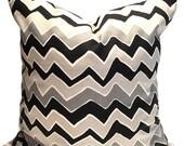 Black Pillows, Black Chevron Pillow Cover, Black Gray Decorative Pillows, Black Cream Pillow, Black Tan Pillow, Black ZigZag Cushion, Euro