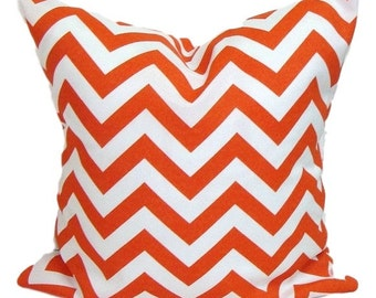 OUTDOOR Pillow Sale.Chevron.14x14 inch.Decorative Pillow Cover.Housewares.Home Decor. Orange Zig Zag.Orange Chevron..Indoor.Outdoor.Cushion