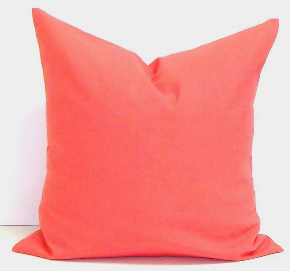 Solid CORAL Pillows Coral Pillow Cover by ElemenOPillows on Etsy