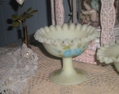 RESERVED...Beautiful Fenton Pale Yellow Crimped Top Compote, Hand painted Roses, Collectible Signed Glass