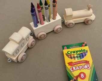 Crayon Train, Eight Count.  Wooden Toy Train. Crayon Holder.