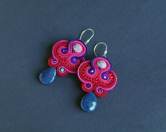 soutache earrings, violet earrings, gift for woman, embroidery earrings, blue earrings, dangle earrings, gift for girl, mother's day