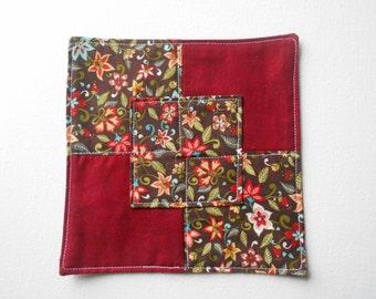 Fabric Coaster, Snack Mat, Autumn Mug Rug, Mini Quilt, Fabric Doily, Candle Mat, Fabric Coaster, Coffee Cup Coaster, Drink Coaster, #157