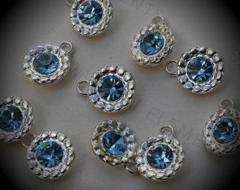 Genuine Silver Plated Swarovski Crystal  Daisy Flowers Charms In Aquamarine