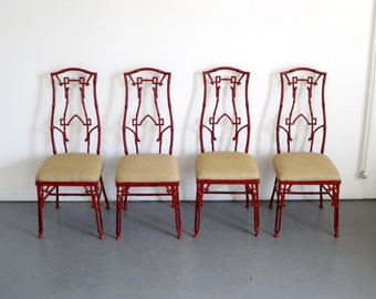 Faux Bamboo Dining Chairs - Mid Century Cast Iron Patio