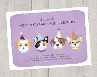 Cat and Dog Theme Birthday Invitation - Children's Birthday Invite