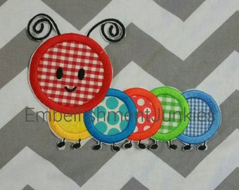 Charming Caterpillar bug iron on applique, multicolored large iron on patch, Happy multicolored bug fabric applique, Ready to ship