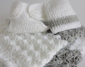 Luxury extra thickness handmade crochet baby layette /  gift set.   Ideal Christening / shower /new baby boy gift.