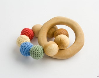 Rainbow Wooden Teething Ring, Wooden Rattle, Baby Toy - New Baby Gift, Shower Gift - FrejaToys