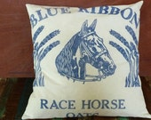 Horse Pillow Cover, Equestrian Pillow, Reproduction Feedsack Pillow, Rustic Grain Sack Pillow, Reproduction Grainsack Pillow, 18""
