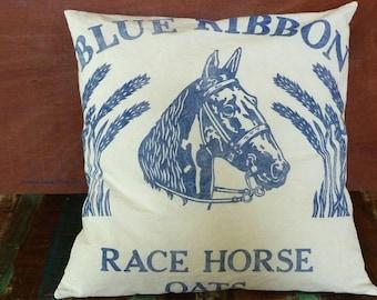 "Horse Pillow Cover, Equestrian Pillow, Reproduction Feedsack Pillow, Rustic Grain Sack Pillow, Reproduction Grainsack Pillow, 18"""