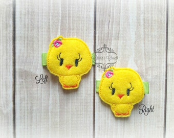 Chick hair clip Little Chick clip Sweet Chick Easter hair clip. Pick Left side or Right.