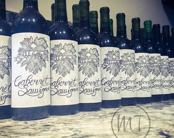 Cabernet Sauvignon Wine Bottle Label Graphic & Template: Hand-Drawn Lettering, Leaf, Blank Banner Design. DIY Printable, Customizable Labels