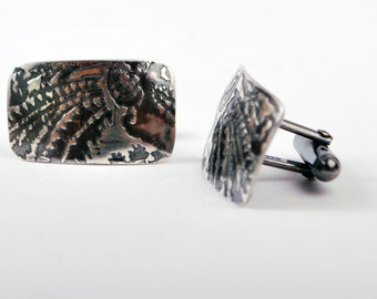 New for Fathers Days- Mens Polished Sterling silver Cufflinks - paisley 'comet' pattern