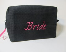 Personalized Bridal Party Cosmetic Bag - Bridesmaid Makeup Bag - Waffle Weave Spa Bag - Great Gift