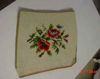 Vintage Handstitched Needlepoint Stool Cover Picture Panel Upholstery Petitpoint Tapestry