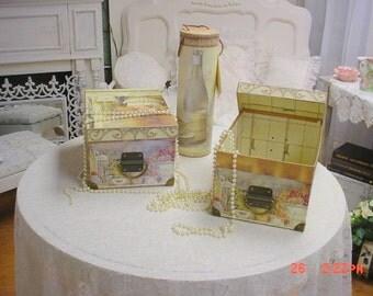 French Storage Box Files Card Recipe Holder Glove Box Cottage Chic