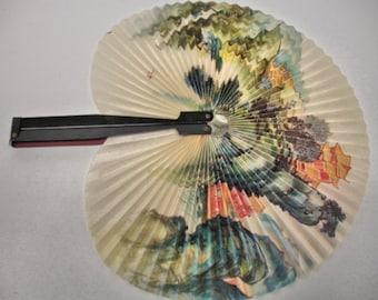 vintage Women Hand Held Paper Asian Fan Flower Design Womens Fans