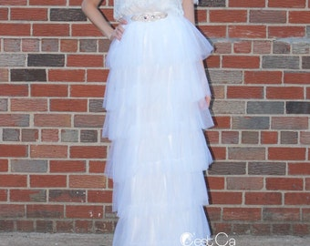 Odette - Wedding Maxi Skirt, Tiered White Tulle Skirt, Bridal Maxi Tulle Skirt, Floor Length Tulle Skirt, Tiered Tulle Skirt