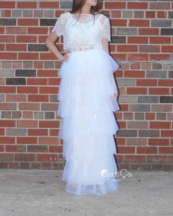 odette wedding maxi skirt tiered white tulle skirt bridal