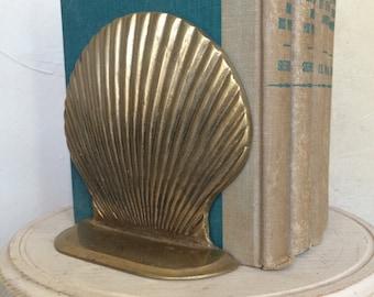 Vintage Brass Bookends Brass Seashell Bookends Brass Clamshell