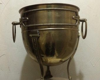 Vintage Brass Champagne Wine Bucket Brass Urn Footed Brass Urn Brass Container