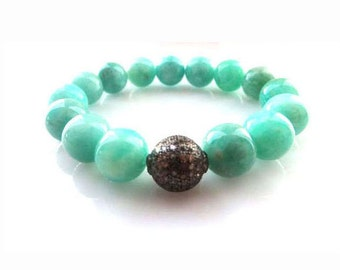 Pave Diamond Oxidized Sterling Silver and Amazonite Stretch Bracelet
