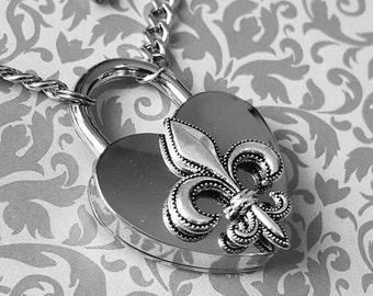 Fleur De Lis- Stainless Steel Discreet Slave BDSM Day Collar Necklace Heart Lock