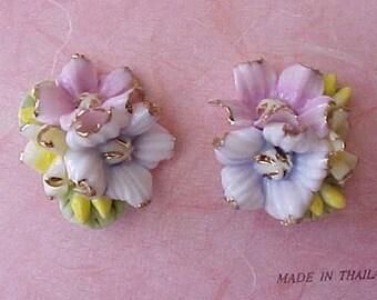 Beautiful Little Ceramic Floral Bouquet Earrings in Pastels for Pierced Ears