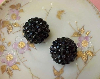 2 Pretty Black Sparkly Faceted Jewelry Findings