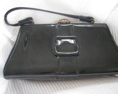 Vintage Black Patent Leather purse, handbag, 60's/70's era