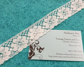 1 yard, 30 inches of 1 1/4 inch White Chantilly lace trim with for bridal, baby, lingerie, accessories by MarlenesAttic - Item 6P